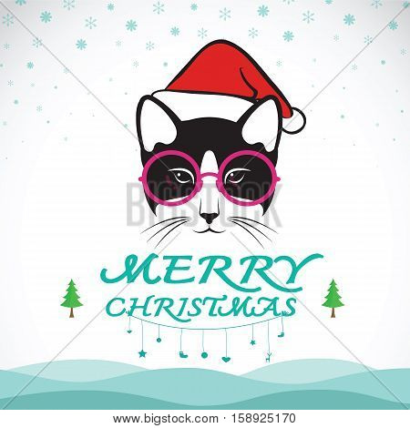 Vector merry christmas greeting cat card on white background.