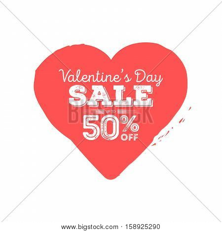 Valentines Day sale. Grungy heart with season discount. Creative website flyer.
