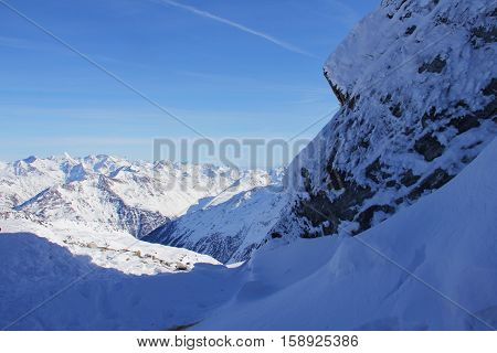 Winter Mountains On Sunny Day