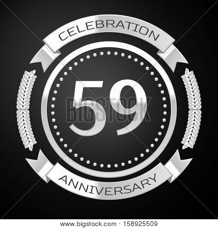 Fifty nine years anniversary celebration with silver ring and ribbon on black background. Vector illustration