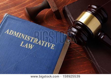 Book with title administrative law on a table.