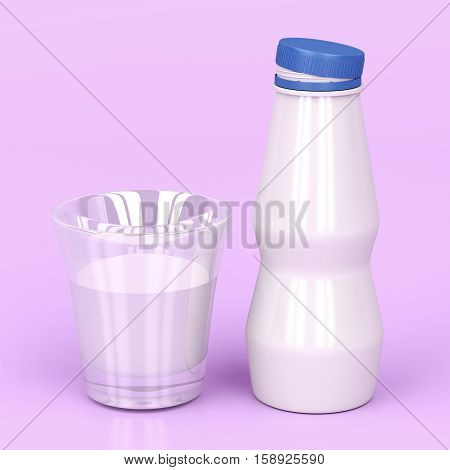 Plastic bottle and a cup of milk on shiny pink background, 3D illustration