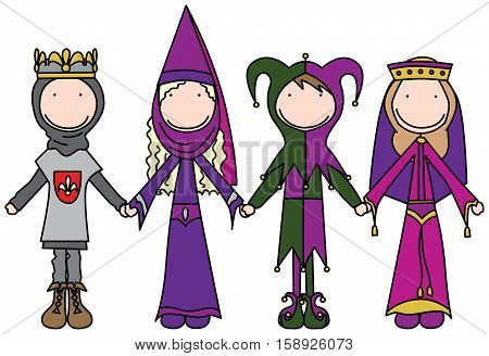 Cartoon illustration of four kids in costumes of king jester and medieval ladies