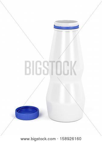 Plastic bottle for yogurt milk or other liquids, 3D illustration