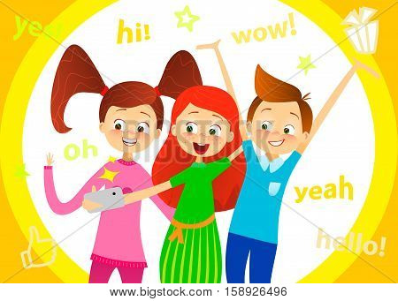 Cartoon children character. Kids smile, make selfie. Happy girls and boy enjoy taking selfie with photo camera. Child photography. Joyful young pupils characters. Cute guy with friends. Vector flat