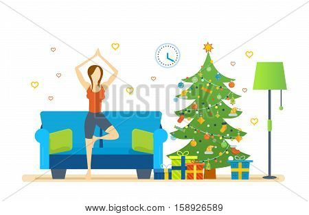Christmas room interior. Atmosphere of New Year. Interior of the room, woman near Christmas tree, standing on the rug and pulling your hands up, taking a pose. Healthy lifestyle. Vector illustration.