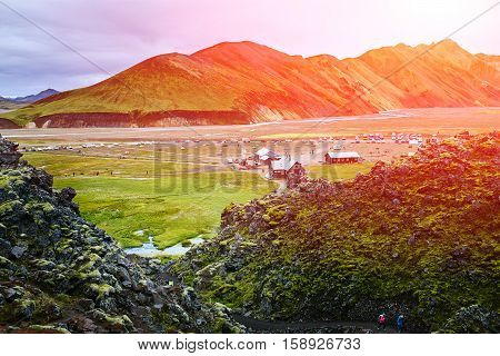 Camping in the Valley National Park Landmannalaugar. Magnificent Iceland in the August