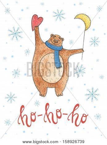 Watercolor christmas card with bear and lettering ho-ho-ho.