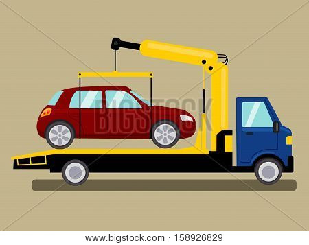 Tow truck takes away car. Colorful hand drawn cartoon vector illustration