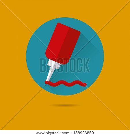 ketchup squeeze bottle flat design long shadow vector icon