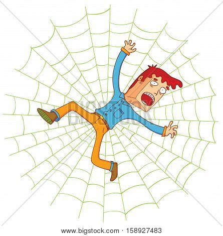 illustration of a man on the spider web