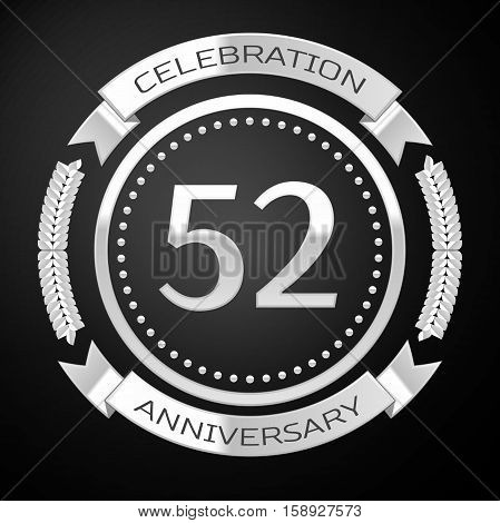 Fifty two years anniversary celebration with silver ring and ribbon on black background. Vector illustration