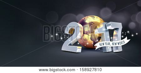 Greetings and 2017 New Year type composed with a golden planet earth glittering on black background - 3D illustration