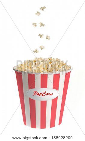 Popcorn falling into a classic striped bucket with popcorn text isolated on white background