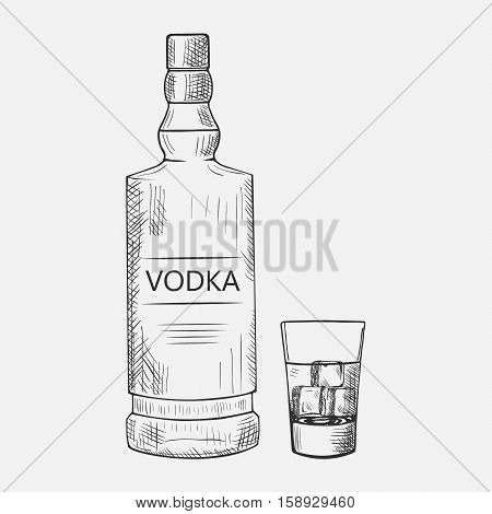 Hand drawn set of vodka elements. Vector illustration. Composition with vodka used for advertising beverage in restaurant or bar menu, for alcohol markets and logo design.