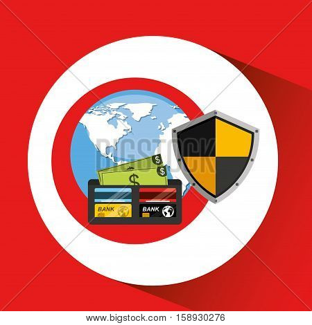 wallet money banking safe shield protection vector illustration eps 10
