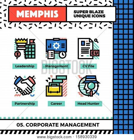 Corporate Management Neo Memphis Icons