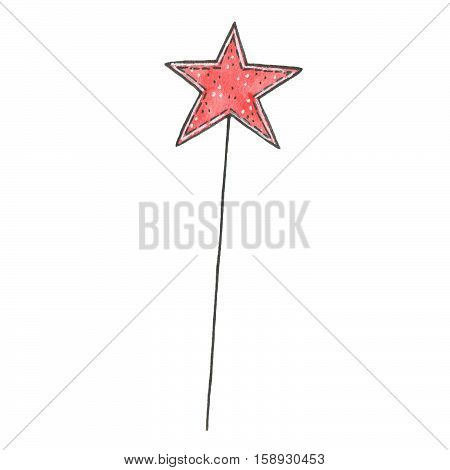 Hand drawn watercolor magic wand with star isolated on white background