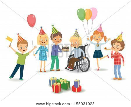 Group of happy children congratulates disabled child on his birthday. Disabled child in a wheelchair blowing on candles on birthday cake after making his wish at party. Vector isolated