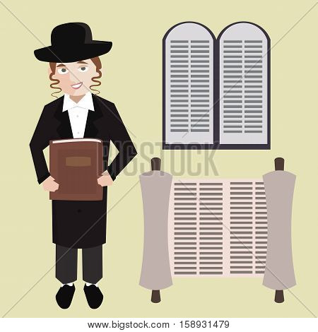 orthodox jewish young man with hebrew bible, torah scroll, stone tablets