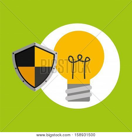 security concept hand with bulb vector illustration eps 10