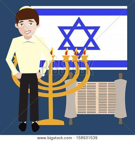 teenager jewish boy with israel symbols, flag, menorah, torah scroll
