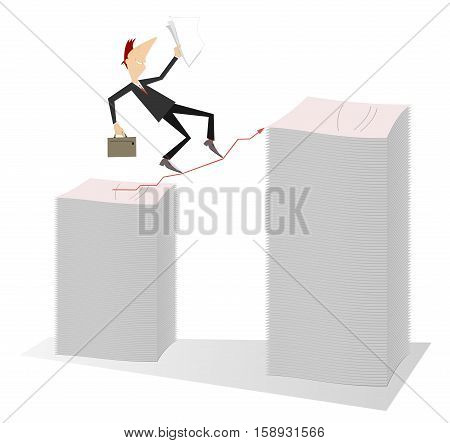 To the top. Businessman with a bag and papers carefully walking on the pointer from one pile of documents to another