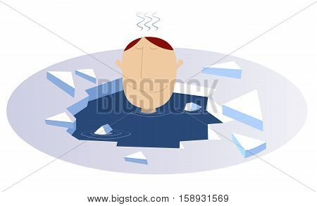 Winter swimming. Man swims in the ice hole