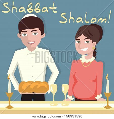 young  jewish couple welcoming shabbat - vector cartoon illustration
