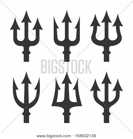 Trident Silhouette Set on White Background. Vector illustration