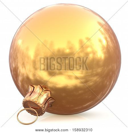 Christmas ball golden decoration gold New Years Eve bauble wintertime hanging adornment souvenir. Traditional ornament happy winter holidays Happy Merry Xmas symbol blank shiny yellow. 3d illustration