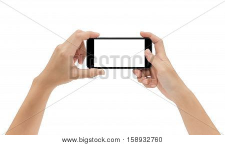 hand holding phone isolated on white background mock-up smart phone matte black color