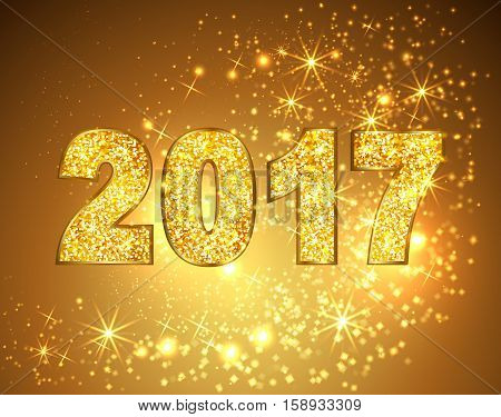 Happy new year 2017 gold glitter texture type on gold magic stars lights with bokeh effects background. Vector illustration.