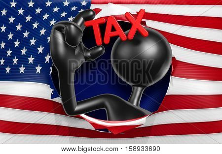 American Flag Tax Concept With The Original 3D Character Illustration