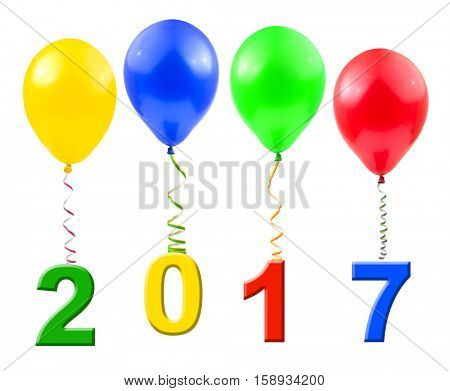 Balloons and 2017 isolated on white background
