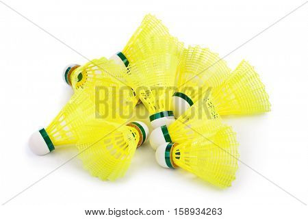 Badminton shuttlecocks isolated on white background