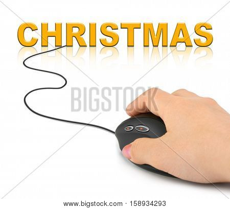 Hand with computer mouse and Christmas - holiday concept