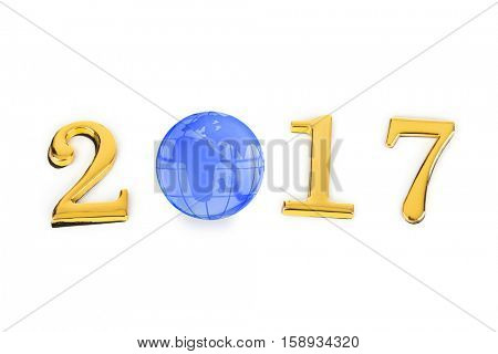 Numbers 2017 and globe isolated on white background
