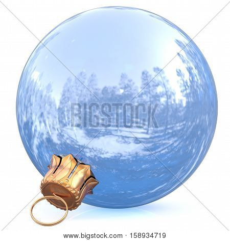 Christmas ball white New Year's Eve bauble chrome decoration shiny wintertime hanging sphere adornment silver souvenir. Traditional ornament happy winter holidays Merry Xmas symbol. 3d illustration