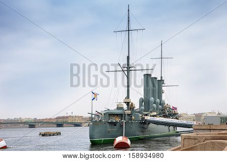 SAINT PETERSBURG RUSSIA - OCTOBER 22 2016: Russian cruiser Aurora - Russian protected cruiser the famous landmark now it is museum ship