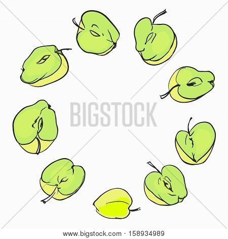 Round frame composed of appels fruit. Vector card illustration. Circle apple frame. Yellow and green apple fresh fruits appetizing looking for packaging design of healthy food
