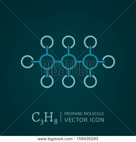 Propane molecule in flat style. C3H8 vector illustration isolated on a dark green background. Scientific, chemical, educational and popular-scientific concept.
