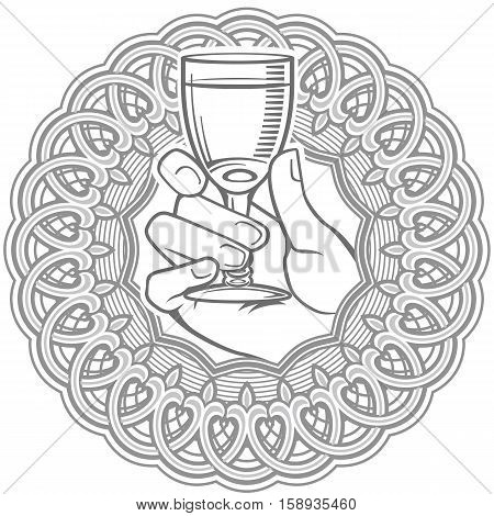 Vector black and white illustration of hand holding glass of vodka encased in circle. Can be used in alcohol drinks decoration as logo brand icon template.