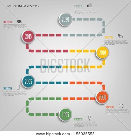 Time line info graphic with colored tortuous direction template vector eps 10