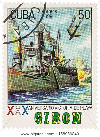 MOSCOW RUSSIA - NOVEMBER 26 2016: A stamp printed in Cuba shows sea battle devoted to the 30st Anniversary of The