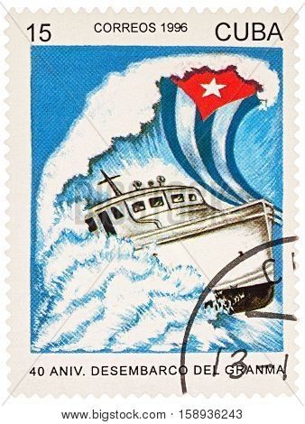 MOSCOW RUSSIA - NOVEMBER 26 2016: A stamp printed in Cuba shows ship Granma in stormy sea series