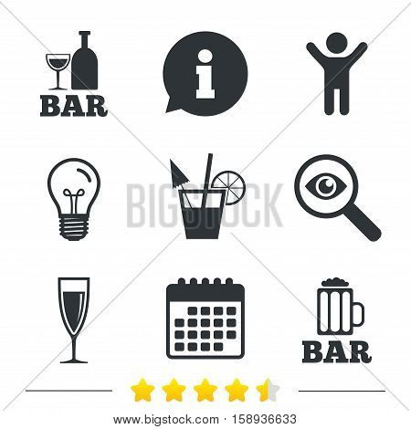 Bar or Pub icons. Glass of beer and champagne signs. Alcohol drinks and cocktail symbols. Information, light bulb and calendar icons. Investigate magnifier. Vector