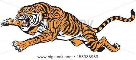 Tiger jump. Angry big cat. Tattoo vector isolated on white