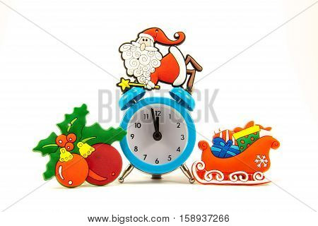 blue clock santa claus sleigh Christmas balls on a white background