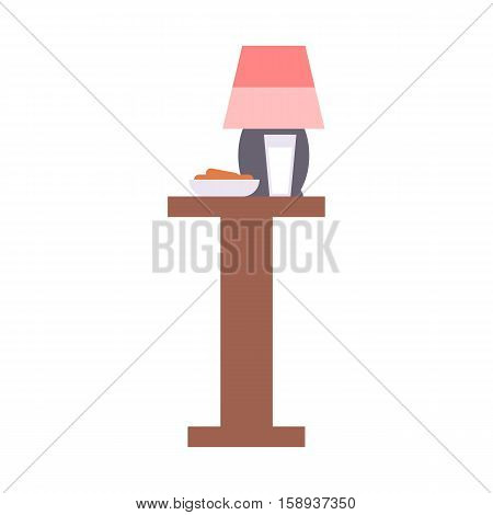 Bedside nightstand with lamp electricity metal furniture. Classic contemporary decorating stand living apartment. Table household furniture and interior design bedroom flat vector.